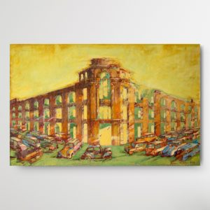"Monocromatic yellow painting ""The Abandoned Town - 2 (2017)"" by Romeo Melikyan showing an abandoned, repreentative building with bunch of rotten cars in front of it"