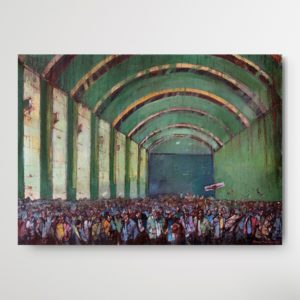 """Expressionistic panting """"Crowd Series 0,2 (2013)"""" by Romeo Melikyan showing crowd of people in an old, green building with high ceilings"""