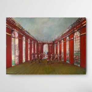 Expressionistic panting by Romeo Melikyan showing a crowd of people inside a red, represntative building with higgh windows
