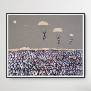 Expressionist, mixed media drawing showing three men on parachutes falling from the sky into massive crowd