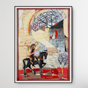 Collage Cavalier (2015) by Romeo Melikyan showing a horseman riding a black horse on red ground