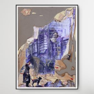 "Mixed Media drawing ""Our City 002"" (2015) by Romeo Melikyan showing the silhouette of a person and a dog in front of a sky line"
