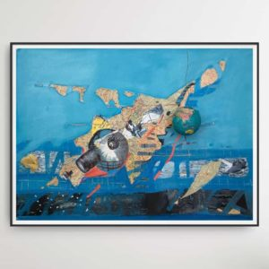 Exporessionistic, mostly blue colored collage by Romeo Melikyan