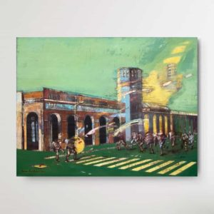 Expressionist painting of Romeo Melikyan showing a crowd of people chasing two people in front of a burning bilding